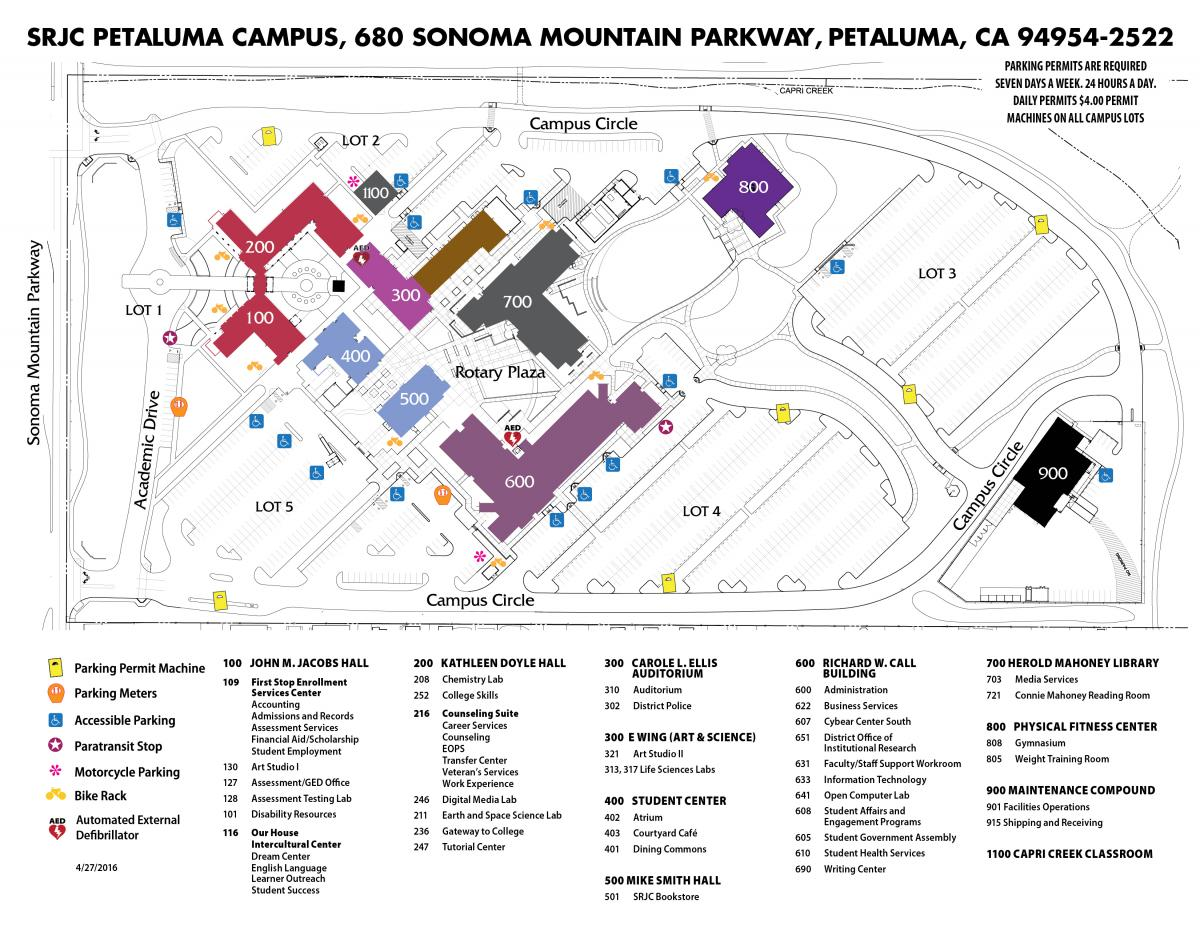 Map of SRJC Petaluma Campus